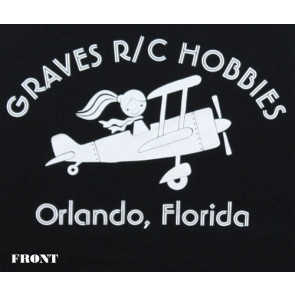 GRAVES RC HOBBIES LADIES AIRPLANE T-SHIRT, REGULAR CUT, BLACK, LARGE