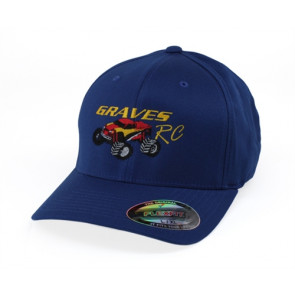 GRAVES RC HOBBIES FLEX FIT CAR HAT, BLUE