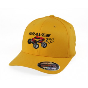 GRAVES RC HOBBIES FLEX FIT CAR HAT, YELLOW