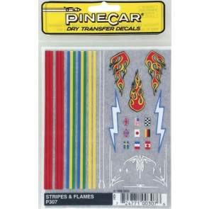 PINP307 PineCar Stripe & Flame Decal