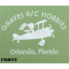 GRAVES RC HOBBIES LADIES AIRPLANE T-SHIRT, GREEN