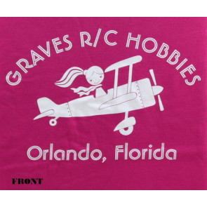Graves RC Hobbies Ladies Airplane T-Shirt, Regular Cut, Pink