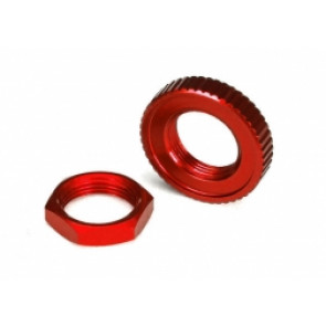 TRAXXAS Servo saver nuts, aluminum, red-anodized