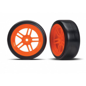 TRAXXAS Tires and wheels, assembled, glued  (ORANGE)