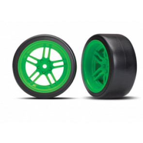 TRAXXAS Tires and wheels, assembled, glued (split-spoke green wheels, 1.9