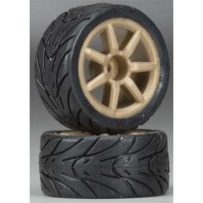 Associated Mounted Gold Wheels/Tires 18R (2)