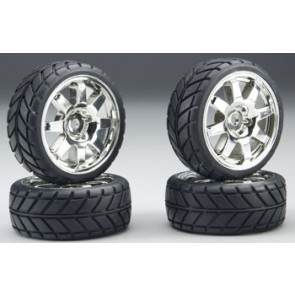 Associated 8-Spoke Chrome Wheels & Tires NTC3 (4)