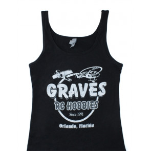 GRAVES RC HOBBIES WOMENS TANK TOP, BLACK, SMALL