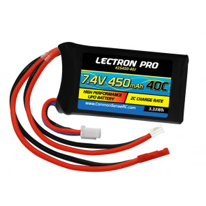 COMMON SENSE RC Lectron Pro 7.4V 450mAh 2Cell 40C Lipo Battery with JST Connector