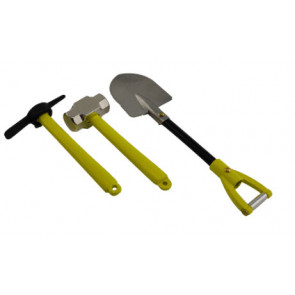 HOBBY DETAILS Metal Hammer, Pickaxe, and Shovel Set - Yellow for 1/10 RC Crawler