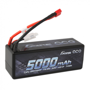 Gens Ace 5000mAh 14.8V 50C 4S1P HardCase Lipo Battery with Deans plug