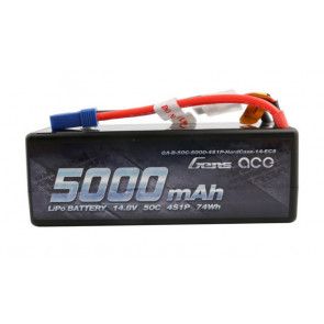 Gens ace 5000mAh 14.8V 50C 4S1P HardCase Lipo Battery with EC5 Plug