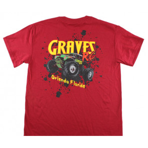 GRAVES RC HOBBIES CAR T-SHIRT, RED