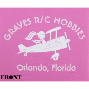 GRAVES RC HOBBIES LADIES AIRPLANE T-SHIRT, PINK