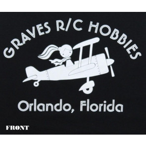 Graves RC Hobbies Ladies Airplane T-Shirt, Regular Cut, Black