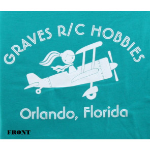 Graves RC Hobbies Ladies Airplane T-Shirt, Regular Cut, Green