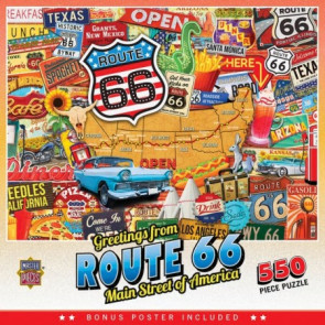 MASTERPIECES PUZZLES Greetings From: Route 66 Main Street of America Collage Puzzle (550pc)