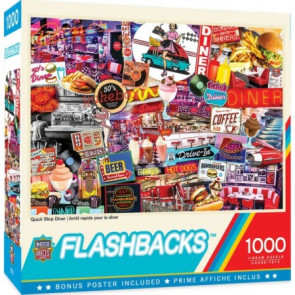 MASTERPIECES PUZZLES Flashbacks: Quick Stop Diner Signs Collage Puzzle (1000pc)
