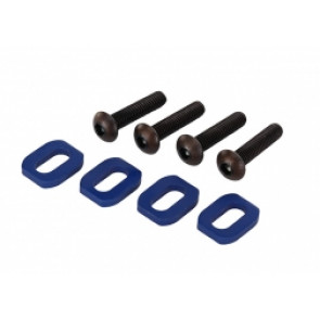 TRAXXAS WASHERS, MOTOR MOUNT, ALUMINUM (BLUE-ANODIZED) (4)/ 4X18MM BCS (4)