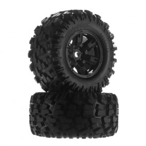 Traxxas Maxx AT Tires and Black Wheels Glued and Mounted with Foam Inserts (2): X-Maxx 8S