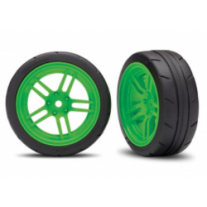 TRAXXAS Tires and wheels, assembled, glued, green