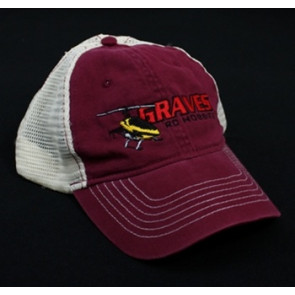 GRAVES RC HOBBIES HELI TRUCKER HAT, RED