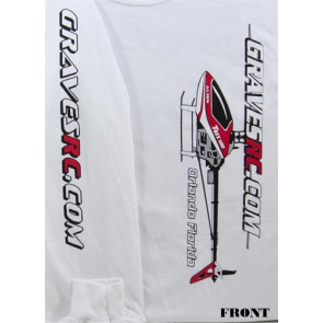 GRAVES R/C HOBBIES HELI T-SHIRT LONG SLEEVE, WHITE, SMALL