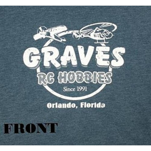 GRAVES RC HOBBIES RETRO T-SHIRT, BLUE, XX-LARGE