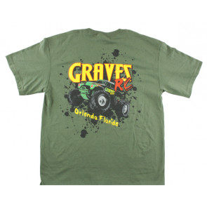 GRAVES RC HOBBIES CAR T-SHIRT, GREEN