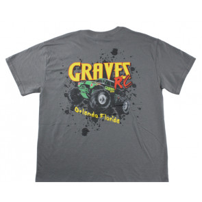 GRAVES RC HOBBIES CAR T-SHIRT, GRAY