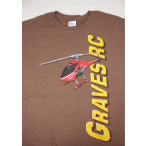 GRAVES RC HOBBIES HELICOPTER T-SHIRT, BROWN