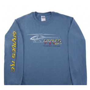GRAVES RC HOBBIES LONG SLEEVE HELICOPTER SHIRT, BLUE