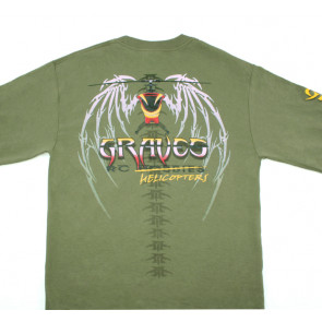 GRAVES RC HOBBIES LONG SLEEVE HELICOPTER SHIRT, GREEN