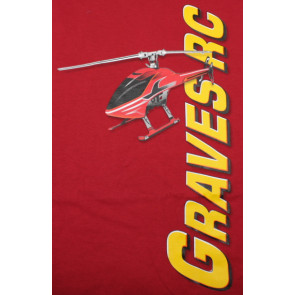 GRAVES RC HOBBIES Helicopter T-Shirt, Red, Extra Large