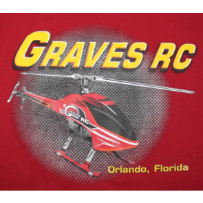 GRAVES RC HOBBIES HELICOPTER T-SHIRT, RED