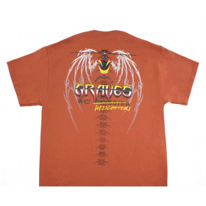 GRAVES RC HOBBIES HELICOPTER T-SHIRT, RUST