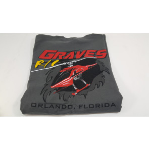 GRAVES RC HOBBIES HELICOPTER T-SHIRT, GREY