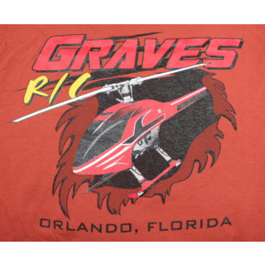 GRAVES RC HOBBIES HELICOPTER T-SHIRT, ORANGE