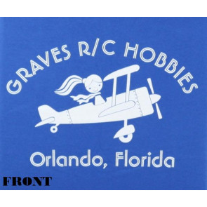 GRAVES RC HOBBIES LADIES AIRPLANE T-SHIRT, BLUE