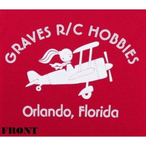 GRAVES RC HOBBIES LADIES AIRPLANE T-SHIRT, RED