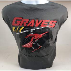 Graves RC Hobbies Helicopter T-Shirt, Grey, Large
