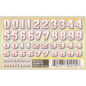 PineCar Beveled Numbers Dry Transfer