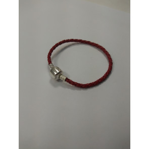 Graves RC Red Braided Bracelet Stirling Silver Clasp for Charms 6.5in 17cm