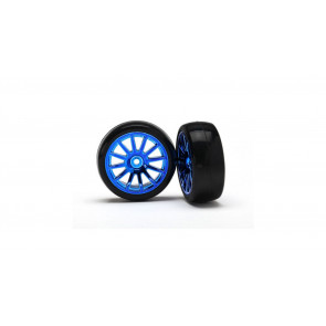 Traxxas Slick Tires and 12-Spoke Blue Chrome Wheels, Mounted (2): LaTrax Rally