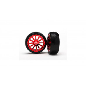 TRAXXAS Slick Tires and 12-Spoke Red Chrome Wheels, Mounted (2): LaTrax Rally